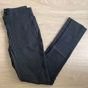 Who What Wear Pinstriped Black Tight Pants